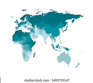 Vector isolated simplified world map with states borders including Africa, Europe, Asia, Australia, Oceania. Colorful silhouettes, white background. Note: Morocco and Western Sahara shown separately
