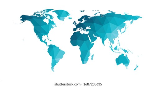 Vector isolated simplified world map. Blue gradient silhouettes, white background. Low poly style. Continents of South and North America, Africa, Europe and Asia, Australia, Indonesian islands.