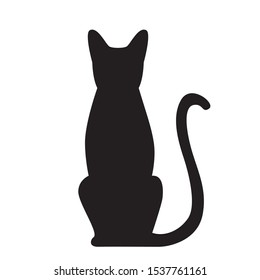 Vector isolated sitting cat silhouette, logo, print, decorative sticker