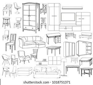 Superieur Vector, Isolated Sketch Of A Set Of Furniture