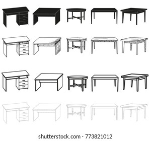 vector, isolated sketch of a table, collection, silhouette of a table set