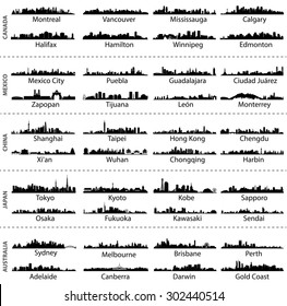 vector isolated skylines of Canada, Mexico, China, Japan and Australia cities