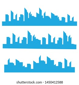 Vector isolated skylines silhouettes. City landscape template. Thin line City landscape