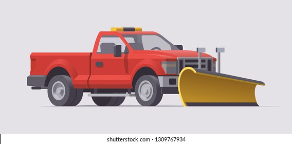 Vector isolated snow plow removal spreader pickup truck