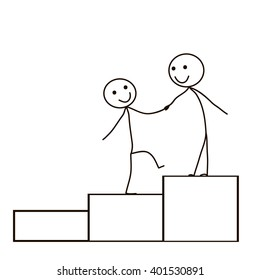 vector isolated Stick Figure help and support