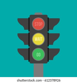 Vector isolated stoplight with green, red & yellow colors. symbol icon technology. buttons in traffic light sign illustration flat design style. stop, ready, drive & go for transportation or business