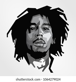 vector isolated stylized illustration black white face head Bob Marley Jamaican singer-songwriter international musical cultural icon reggae, ska rocksteady compositions
