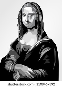 vector isolated stylized illustration black white  Mona Lisa half length portrait painting by the Italian Renaissance artist Leonardo da Vinci