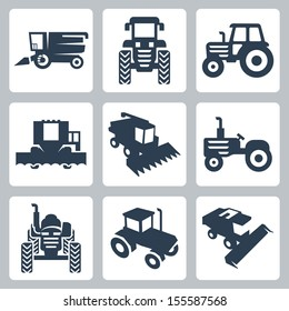 Vector isolated tractor and combine harvester icons