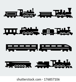 Vector isolated trains silhouettes set