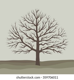 Vector isolated tree. Tree without leafs.