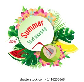 Vector isolated tropical summer composition. Transparent background.