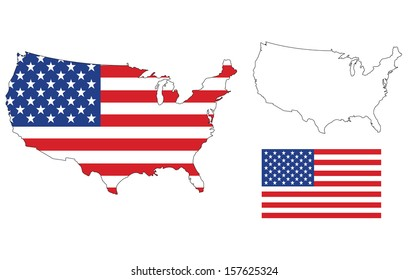 Us Flag Map Images Stock Photos Vectors Shutterstock