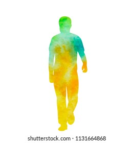 vector, isolated, watercolor silhouette man is walking