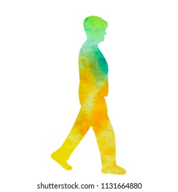 vector, isolated, watercolor silhouette the woman is walking
