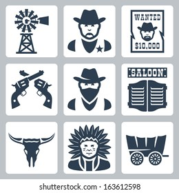 Vector isolated western icons set: windmill, sheriff, wanted poster, revolvers, bandit, saloon, longhorn skull, indian chief, prairie schooner
