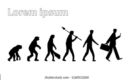 Vector isolated white background black silhouette geometric. Change transformation human innovation evolution change from monkey, caveman, people to businessman in future digital disruption era age