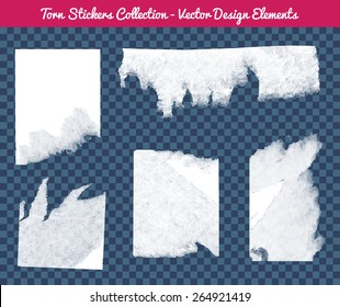Vector isolated white torn stickers collection. Transparent Design elements to fit any background.