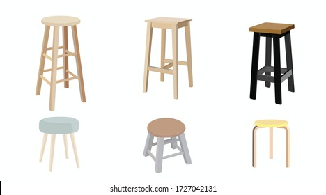 Vector isolated Wooden Stools Set