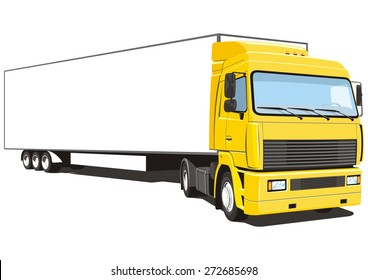 Vector isolated yellow semi truck on white background, without gradients.