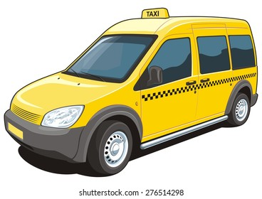 Vector isolated yellow taxi on white background without gradients and transparency.