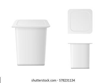 Vector isolated yogurt container on white background. Front and top view.
