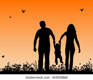 vector, isolated,silhouette of a family playing in nature