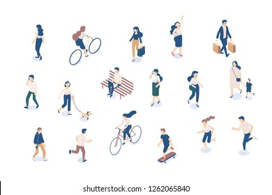 Vector Isomeric people set isolated on white. Male and female characters. Flat isometric illustration.
