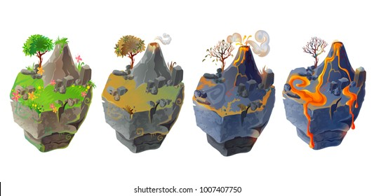 Vector isometric 3d fantastic islands for game design set. Cartoon illustration with green grass, tree, flowers and mountain and volcanic landscape with lava, burned ground and volcano isolated.