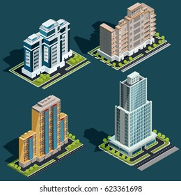 Vector isometric 3D illustrations icons of buildings skyscrapers, offices, residential buildings