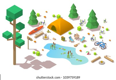 Vector isometric 3d low poly elements in the camping site
