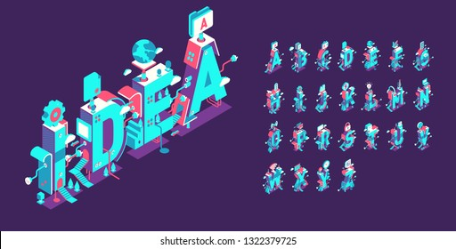 """Vector isometric abstract font and alphabet, 3d letters for design concept? the word """"idea"""""""