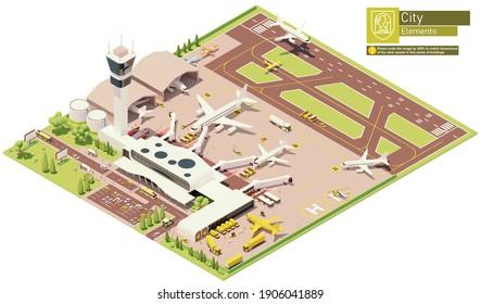 Vektorisometrische Flughafenterminal-Infrastruktur. Parkplätze für Flugzeuge mit Bordbrücken, Beladung von Postdienstflugzeugen, Flugzeug auf der Landebahn, Flugzeughängen, Flughafenmaschinen und w