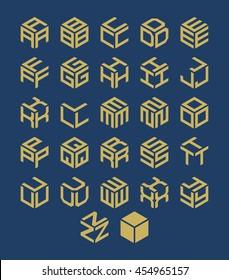 Vector isometric alphabet. Cubic font.