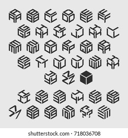 Vector isometric alphabet with numbers.