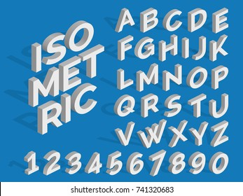 Vector isometric alphabet and numbers. Funky 3d font. Isometric three-dimensional number and abc illustration