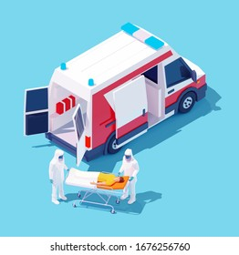 Vector isometric ambulance hospitalization man with coronavirus disease or Covid-19. Paramedics in protective masks hospitalize patient with suspected infectious coronavirus or Covid-19 to hospital