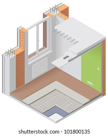 Vector isometric apartment cutaway icon. Image showing wall, floor and ceiling layers