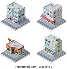Vector isometric art deco buildings set. Included hotel, cafe, diner