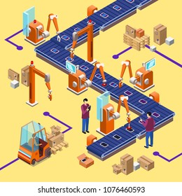 Vector isometric automatic assembly factory robotic line concept. Illustration with electronic device manufacturing factory conveyor system with industrial robots, workers, packaging boxes.