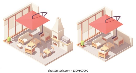 Vector isometric backyard patio with outdoor wooden furniture - table, chairs, umbrella, fireplace and barbecue grill