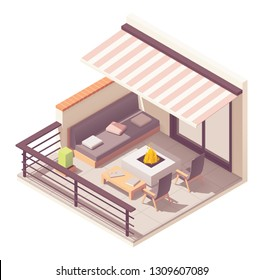 Vector isometric balcony with metal railing, outdoor wooden furniture - table, chairs, sofa, fire pit and awning
