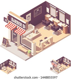 Vector isometric barbershop or hairdressing salon interior. Chairs, barber scissors, hair clipper, barbers pole,