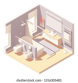 Vector isometric bathroom interior cross-section with bathtub, washbasin, toilet, bidet and towel warmer