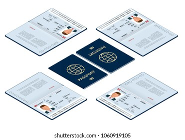Vector isometric Blank open passport template. International passport with sample personal data page. Document for travel and immigration. Isolated vector illustration.