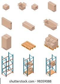 Vector isometric boxes, pallets and warehouse shelving