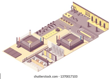 Vector isometric boxing and combat sports gym interior cross-section. Boxing ring and training equipment