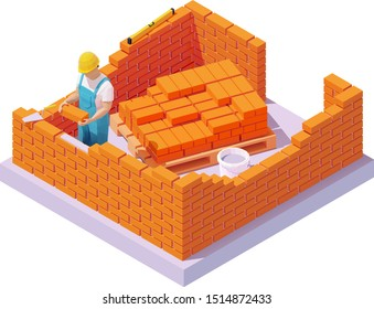 Vector isometric builder or bricklayer building or bricklaying brick wall on construction site. Construction worker with trowel in hardhat or protective helmet building a house