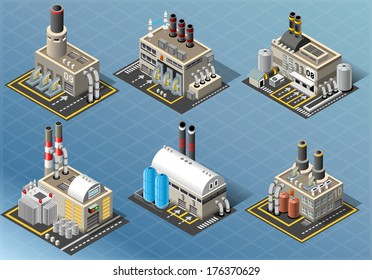 Vector Isometric Building Energy Power Plant Generator Industry Factory Set 3D Pipe Oil Isolated Isometric Building Infographic Collection Power Plant Farm Oil Industry Factory Energy Generator Vector