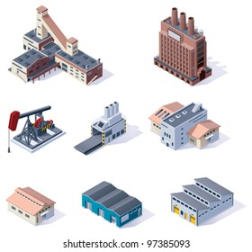 Vector isometric buildings icon set. Factories, plants, warehouse, conveyor and other industrial facilities
